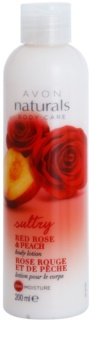 Avon Naturals Body hydratačné telové mlieko s červenou ružou a broskyňou