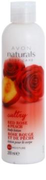 Avon Naturals Body vlažilni losjon z rdečo vrtnico in breskvijo