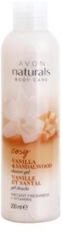 Avon Naturals Body δροσιστικό τζελ ντους με βανίλια και σανταλόξυλο