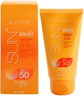 Avon Sun crema facial bronceadora rejuvenecedora resistente al agua  SPF50