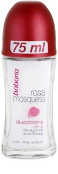 Babaria Rosa Mosqueta desodorizante roll-on com extrato de rosas silvestres