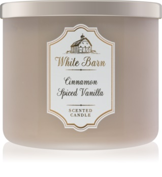 Bath & Body Works White Barn Cinnamon Spiced Vanilla vonná svíčka 411 g