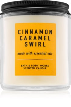 Bath & Body Works Cinnamon Caramel Swirl scented candle I.