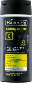 Bielenda Carbo Detox Active Carbon міцелярна очищуюча вода для обличчя та шкіри навколо очей з активованим вугіллям для комбінованої та жирної шкіри