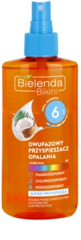 Bielenda Bikini Coconut spray ulei bifazic pentru accelerarea bronzării SPF 6