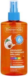 Bielenda Bikini Coconut huile bi-phasée en spray pour accélérer le bronzage SPF 6
