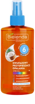 Bielenda Bikini Coconut spray de óleo bifásico para acelerar recuperação das queimaduras solares SPF 6