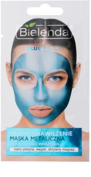 Bielenda Metallic Masks Blue Detox máscara para hidratação e desintoxicação para pele seca a sensível