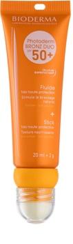 Bioderma Photoderm Bronz DUO ochranný fluid na obličej a balzám na rty SPF 50+