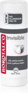 Borotalco Invisible dezodorant w sztyfcie przeciwko białym i żółtym śladom