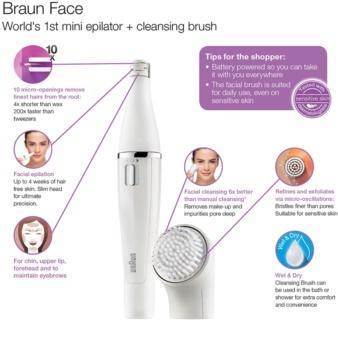 Braun Face  810 depiladora con cepillo de limpieza  para el rostro