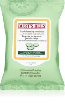 Burt's Bees Cucumber & Sage čistiace a odličovacie obrúsky pre normálnu až suchú pleť