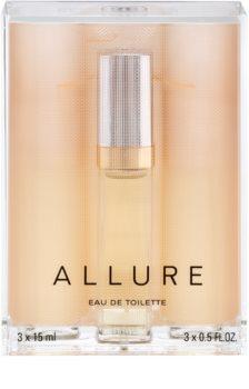Chanel Allure woda toaletowa dla kobiet 45 ml (1x napełnialny + 2x napełnienie)