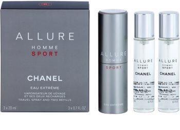 Chanel Allure Homme Sport Eau Extreme toaletna voda za moške 3 x 20 ml (1x  polnilna + 2x polnilo)