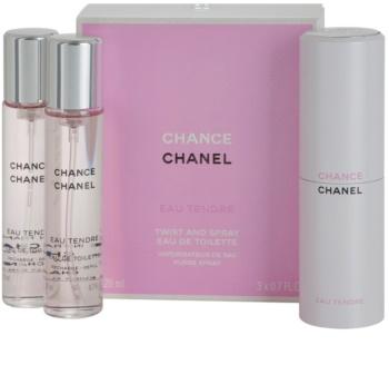 Chanel Chance Eau Tendre Eau de Toilette voor Vrouwen  3 x 20 ml (1x Navulbaar + 2x Navulling)