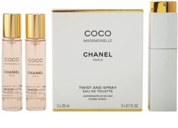 Chanel Coco Mademoiselle eau de toilette (1x vap.recarregável + 2 x recarga) para mulheres 3x20 ml