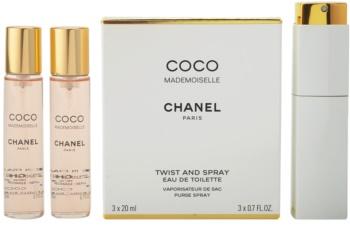 Chanel Coco Mademoiselle toaletní voda pro ženy 3x20 ml (1x plnitelná + 2x náplň)