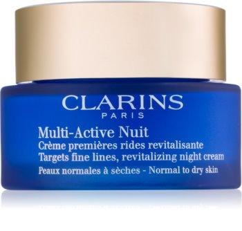 Clarins Multi-Active revitalisierende Nachtcreme gegen feine Linien für normale und trockene Haut