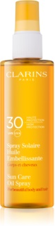 Clarins Sun Protection αντηλιακό λάδι για σώμα και μαλλιά SPF 30