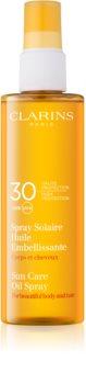Clarins Sun Protection óleo solar para corpo e cabelo SPF 30