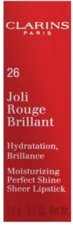 Clarins Lip Make-Up Joli Rouge Brillant hydratisierender Lippenstift mit hohem Glanz