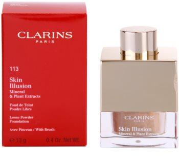 Clarins Face Make-Up Skin Illusion sypký pudrový make-up pro přirozený vzhled se štětečkem