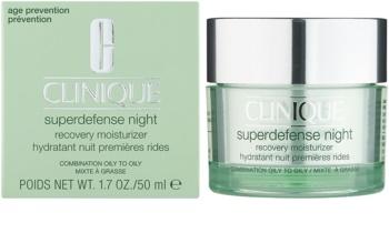 Clinique Superdefense vlažilna nočna krema proti gubam za mastno in mešano kožo