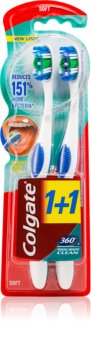 Colgate 360°  Whole Mouth Clean periuta de dinti Medium 2 pc
