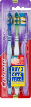 Colgate Zig Zag Medium Toothbrushes 3 pcs