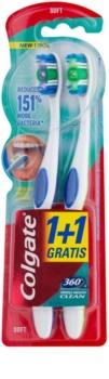 Colgate 360°  Whole Mouth Clean escova de dentes suave 2 pçs