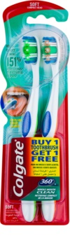 Colgate 360° Whole Mouth Clean brosses à dents soft 2 pcs