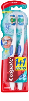 Colgate 360°  Whole Mouth Clean escovas de dentes média 2 pçs