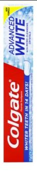Colgate Advanced White pasta de dientes blanqueadora con efecto antimanchas en el esmalte