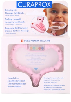 Curaprox Curababy Teething ring with a massage brush and rattle