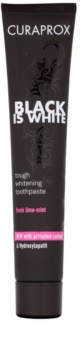 Curaprox Black is White pasta des dentes branqueadora com carvão ativo e hidroxiapatito.