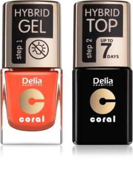 Delia Cosmetics Coral Nail Enamel Hybrid Gel Cosmetic Set (for Nails)