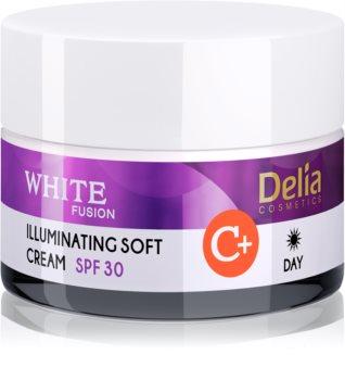 Delia Cosmetics White Fusion C+ λαμπρυντική κρέμα ημέρας για επιδερμίδα με υπέρχρωση SPF 30