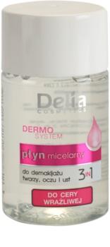 Delia Cosmetics Dermo System eau micellaire nettoyante contour yeux et lèvres 3 en 1