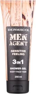 Dermacol Men Agent Sensitive Feeling τζελ για ντους 3 σε 1