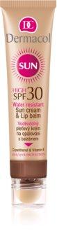 Dermacol Sun Water Resistant crema abbronzante waterproof viso e balsamo per labbra SPF 30