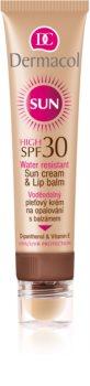 Dermacol Sun Water Resistant vodootporna krema za lice za sunčanje s balzamom za usne SPF 30