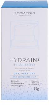Dermedic Hydrain3 Hialuro feuchtigkeitsspendende Nachtcreme gegen Falten