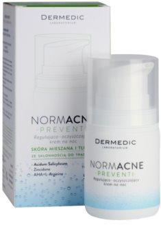 Dermedic Normacne Preventi crema facial de noche reguladora y limpiadora