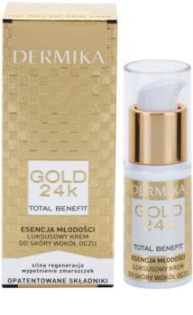 Dermika Gold 24k Total Benefit luxuoso creme rejuvenescedor para o contorno dos olhos