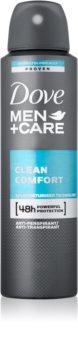 Dove Men+Care Clean Comfort desodorizante antitranspirante em spray 48 h