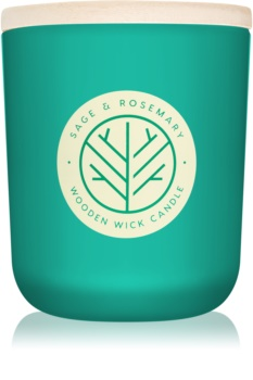 DW Home Sage & Rosemary vela perfumado 320,49 g com pavio de madeira