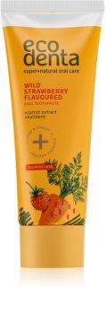 Ecodenta Green Wild Strawberry Flavoured Kinderzahnpasta mit dem Duft von Walderdbeeren und Karottenextrakt