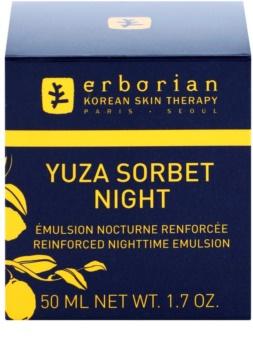 Erborian Yuza Sorbet emulsión de noche con textura ligera  para reafirmar la piel