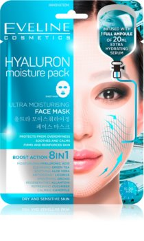 Eveline Cosmetics Hyaluron Moisture Pack maschera calmante in tessuto ultra idratante
