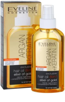 Eveline Cosmetics Argan + Keratin vlasový olej 8 v 1